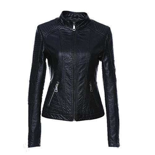 N\P Chaqueta de cuero de las mujeres vintage de las mujeres de cuero de la PU chaqueta de la chaqueta de mandarín cuello delgado femenino negro cuero sintético Outwear