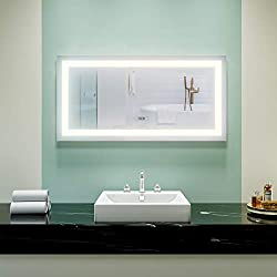 Elegant Frameless Makeup Bathroom Mirror, 48 in. W x 24 in. H Vanity Mirror with Lights Mounted LED Anti-Fog Mirror with Clock Display Touch Control Adjustable Brightness, Warm White