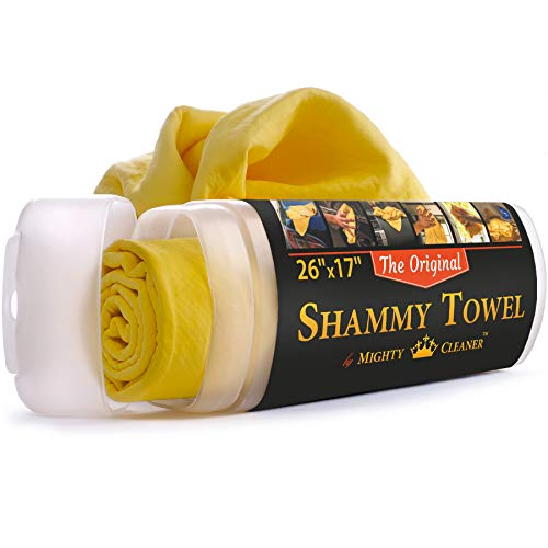 """Shammy Towel for Car - 26"""" x 17"""" Chamois Cloth for Car - Original Car Drying Towel, by Mighty Cleaner"""