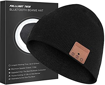 Upgraded Bluetooth Beanie Hat Headphones Wireless Headset Winter Music Hat Knit Cap with Stereo Speakers & Mic Unique Christmas Tech Gifts for Women Mom Her Men Teen Boys Girls Black by FULLLIGHT TECH