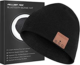 Upgraded Bluetooth Beanie Hat Headphones Wireless Headset Winter Music Hat Knit Cap with Stereo Speakers & Mic Unique Christmas Tech Gifts for Women Mom Her Men Teen Boys Girls Black