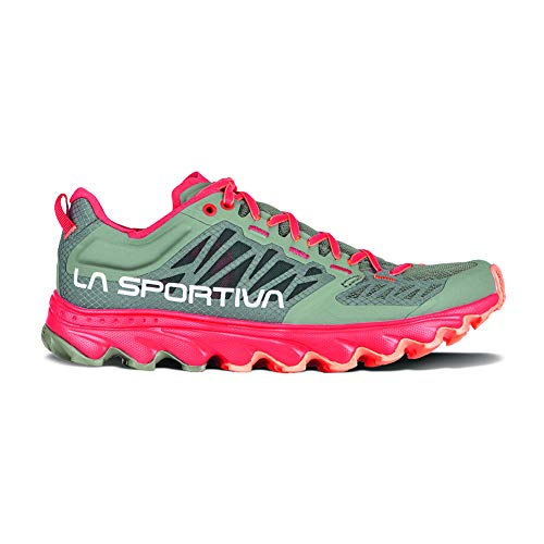 La Sportiva Women's Helios III Trail Running Shoe - Color: Clay/Hibiscus (Regular Width) - Size: 9.5 Grey/Red