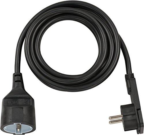 Brennenstuhl förlängningskabel med vinklad platt kontakt 3 m, H05VV-F F3G1, svart, 1168980030