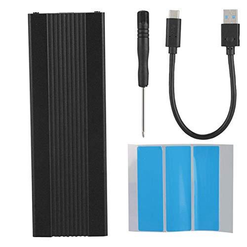 Recinto externo de SSD, NGFF PCIE a Tipo-C Adaptador SSD Case externo USB3.1 a M.2 NVME Unidad de ahorro ligero portátil para M2 ASM2362 (negro)