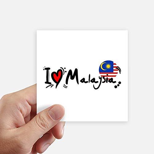 DIYthinker Amo la ilustración de la Bandera de Malasia Palabra del Amor del corazón Pegatinas Plaza 10cm Pared Maleta portátil Motobike Decal 8pcs 10cm x 10cm