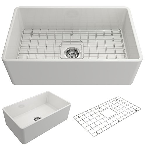 BOCCHI 1138-001-0120 Classico Apron Front Fireclay 30 in. Single Bowl Kitchen Sink with Protective...