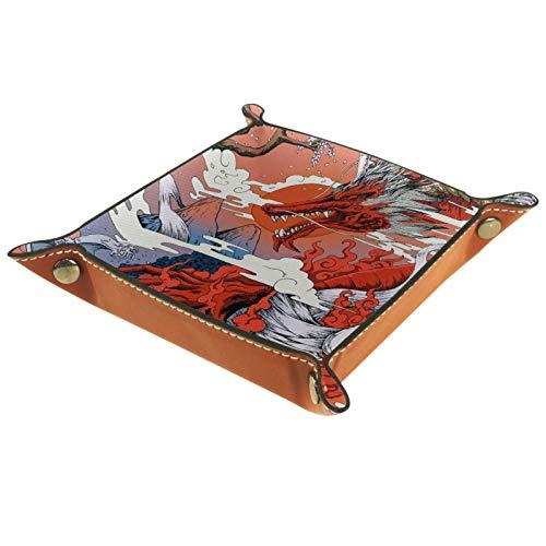 YATELI Caja de Almacenamiento pequeña, Bandeja de Valet para Hombre,Dragón de otoño,Organizador de Cuero para Llaves de Caja de Monedas