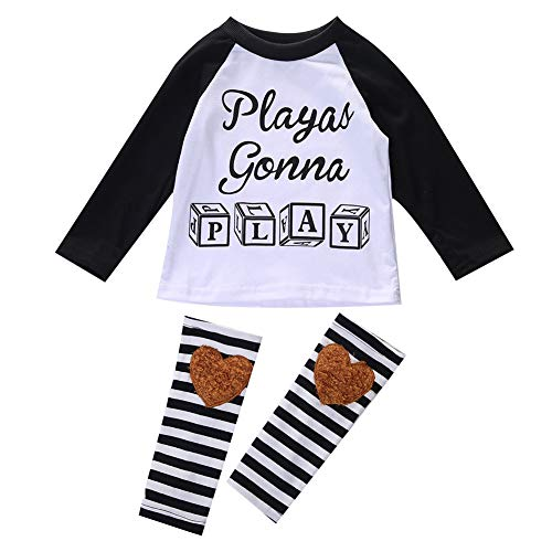 BEELADAN Toddler Baby T-Shirts Outfits, Letter Printed Long Sleeve Round Neck Tops with Leg Warmers for Spring and Fall (White, 3-4T)