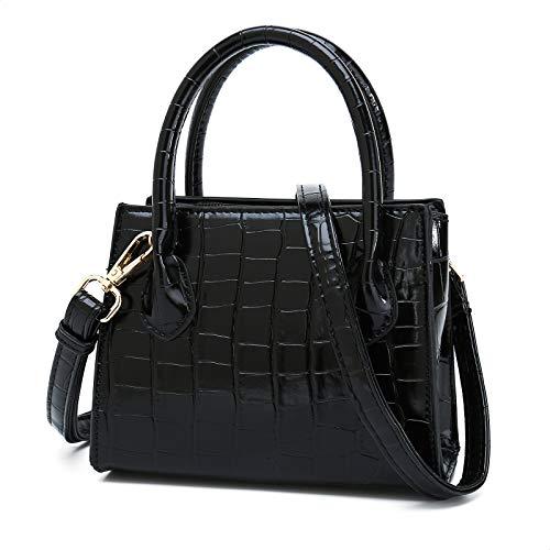 CATMICOO Trendy Mini Purse for Women, Small Handbag and Mini Bag with Crocodile Pattern (Black)