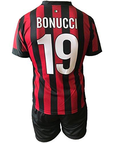 Completo BONUCCI Milan Bambino Uomo Adulto Maglia Pantaloncini Replica Ufficiale 2017-18 Home (cm:Spalle 41,Torace 46,lungh.57-Anni 8)