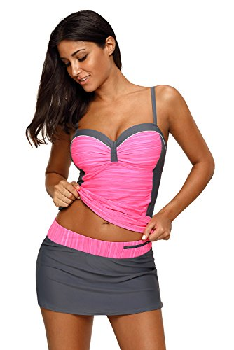 REKITA Womens Swimsuit Halter Tankini Top and Skort Bottom Set Bathing Suits, Rosy Grey, Small