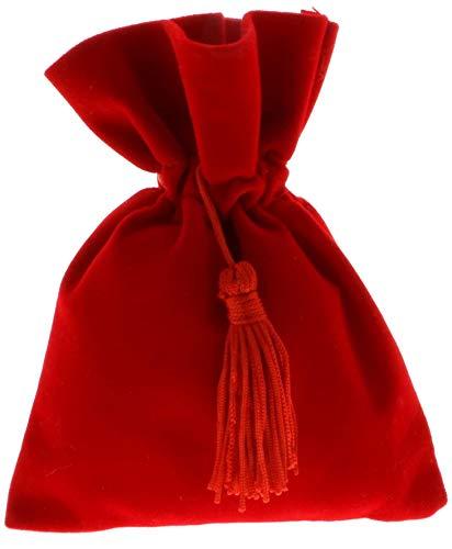 12 PZ Sacchetto portaconfetti LAUREA 8x10cm cvelluto rosso con nappina