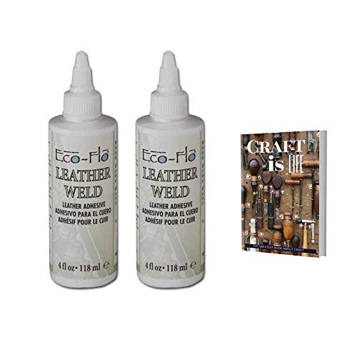 Tandy Leather Eco Flo Leather Weld - 2655-01- Craft- Leather Adhesive Glue - Super Strong Glue - Quick Bond - Clear Drying for Various Material Craft, Repair, or Patch - 2 Pack 4oz with E-Book