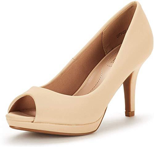 DREAM PAIRS Women's City_ot Nude Nubuck Fashion Stilettos Peep Toe Pumps Heels Shoes Size 8 B(M) US