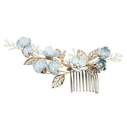 Lurrose Braut Haar kämmt blaue Blume Crystal Drill Kopfschmuck Hochzeit Haarschmuck (s874)