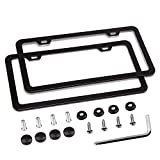 Simchoco License Plate Frame, Black License Plate Frame 2 Pcs 2 Holes Slim...