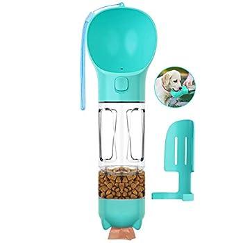 ENONEO Bouteille d'eau Chien 300ml 4 in 1 Distributeur d'eau pour Chien Portable avec Récipient Alimentaire et Pelle à Caca Sac à Ordures Anti-Fuite Animaux de Compagnie Gourde Chien Promenade (Bleu)