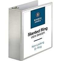 Business Source BSN28444 D-Ring Binder- w- Pockets- 4in. Capacity- White