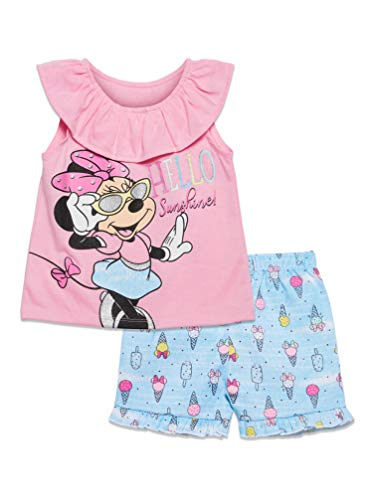 Disney Minnie Mouse Toddler Girls T-Shirt and Twill Shorts Set 2T Pink