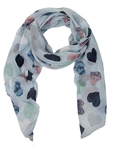 Zwillingsherz Seiden-Tuch Damen Herz Muster - Made in Italy - Eleganter Sommer-Schal für Frauen - Hochwertiges Seidentuch/Seidenschal - Halstuch und Chiffon-Stola Dezent Stilvolles Muster hbl