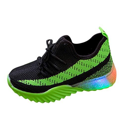 Lazzboy Kinder Kind Baby Mädchen Jungen Candy Farbe Led Luminous Sport Run Turnschuhe Schuhe Leuchten Aufladen Blinkende Trainer(Grün,24)
