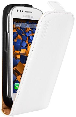 mumbi Echt Leder Flip Hülle kompatibel mit Samsung Galaxy S3 mini Hülle Leder Tasche Hülle Wallet, weiss