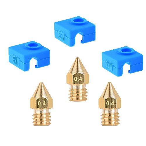 HAWKUNG MK8 Calzino del Silicone, 3 Pezzi 3D Heater Stampante Copertura del Silicone Block + 3 Pezzi MK8 0,4 mm in Ottone Ugello Compatibile con Creality CR-10, 10S, S4, S5, Ender 3, ANET A8, Blu
