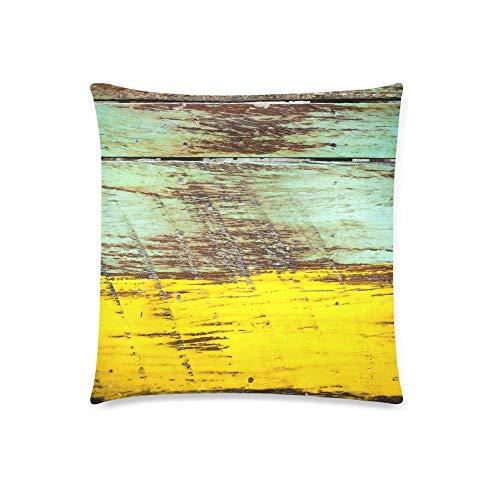 Funda de cojín de Arte Vintage Pintado en Madera Antigua con Funda de Almohada de 18 x 18 Pulgadas con Cremallera para decoración de sofá de Dormitorio