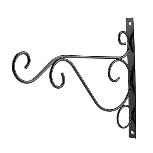 Plantenhouder, ijzeren muurbevestiging bloemhaak voor huis tuindecoratie 30 * 21cm (zwart)