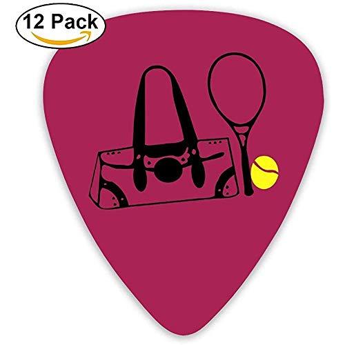 Sherly Yard Celluloid Guitar Picks Mandoline Guitar Plectrums, Druck Tennisball Schläger Handtasche, 12er Pack