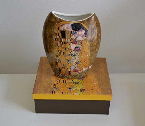 Atelier Harmony Gustav Klimt Vase Motiv Der Kuss Porzellan LE BAISIER (Beige/Gold)