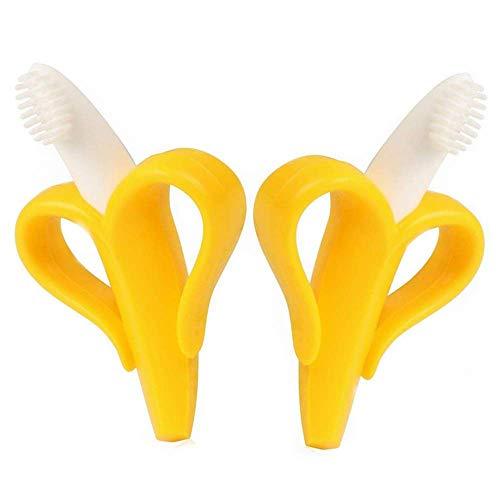 LANGING 2 Stks Verzegeld Baby Banaan Teether Speelgoed Zachte Siliconen Baby Tandenverzorging Training Tandenborstel