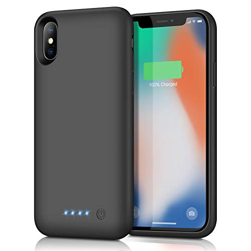 Feob Battery Case for iPhone XS/X/10, Rechargeable 6500mAh Portable Charging Case Extended Battery Pack Cover Power Bank Charger Case for iPhone Xs/X[5.8 inch]-Black