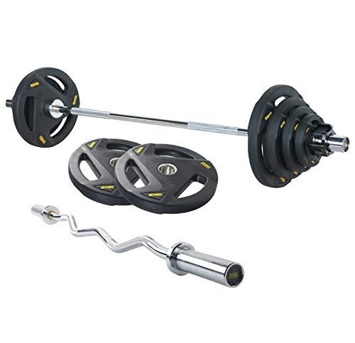 FitElite(フィットエリート) オリンピック・バーベルシャフト(全長:150cm: 家庭用タイプ) (150cmシャフト+プレート67.5kg+カラー+EZバー)