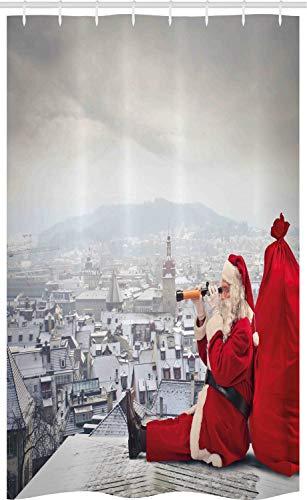 ABAKUHAUS Kerstmis- Douchegordijn, Kerstman op het Dak, voor Douchecabine Stoffen Badkamer Decoratie Set met Ophangringen, 120 x 180 cm, Red Pale Grey