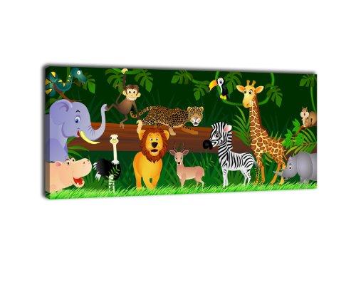 wandmotiv24 Leinwandbild Panorama Nr. 66 Animals 100x40cm, Bild auf Leinwand, Kunstdruck Kinder Tiere Dschungel