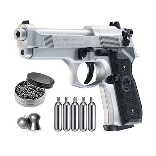 Beretta M92FS Air Gun with 5x12 CO2 Tanks and Pack of 500ct Lead Pellets Bundle (Nickel/Black+Accessories)