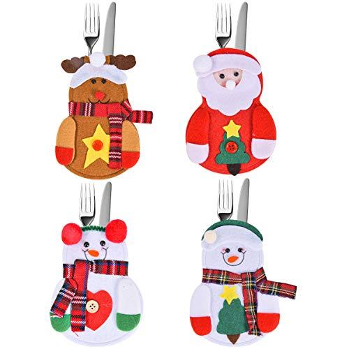 HIDARLING Juego de 4 cubiertos de Navidad, para cubiertos de Navidad, tenedores,...