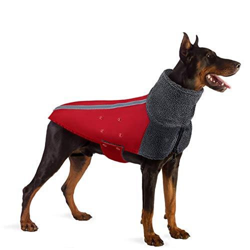SlowTon Hundejacke Winterjacken Hundemantel Baumwolle Hundegeschirr (XL, Rot)
