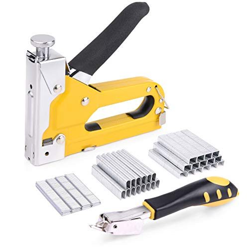 WOLFWILL 3 in 1 Staple Gun Kit with 3600pcs Staples and Staple Remover, Heavy Duty Nail Gun Manual Steel Stapler for Upholstery, Fixing Material, Decoration, Carpentry, Furniture