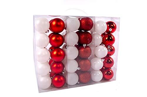 Lifestyle & More Esclusive Sfere per Albero di Natale Set 61 Pezzi in Bianco/Rosso con Solo Sfere Grandi 6 cm con Punta a Stella e Pendenti abbinati