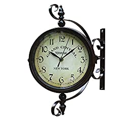 FDYD Double Sided Wall Clock - Wrought Iron Vintage Clock with Scroll Wall Side Mount - 360 Degree Rotation Home Décor Wall Clock