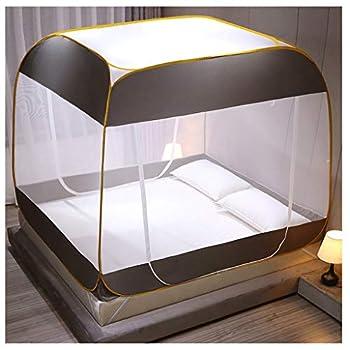 LXLTL Moustiquaire Tente pour Lits Anti Moustiques Piqûres Design Pliant avec Filet Bas pour Adultes Voyage Camping Plus Moustique,Gris,180x200x165cm