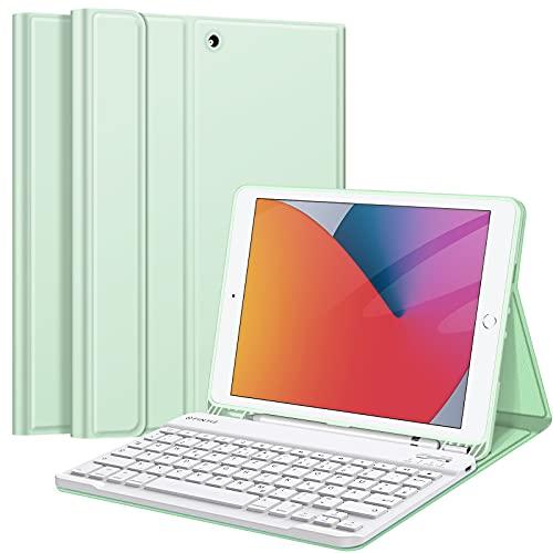 Fintie Tastatur Hülle für iPad 10.2 Zoll (9/8/ 7 Generation - 2021/2020/2019), Soft TPU Rückseite Gehäuse Schutzhülle mit Pencil Halter, magnetisch Abnehmbarer Tastatur mit QWERTZ Layout, Grün