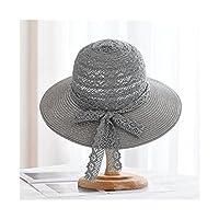 日よけ帽 夏の女性の麦わら帽子レースの弓のバケツの帽子トラベルサンハットビーチハットのビーチの帽子 ビーチハット (Color : Grey)
