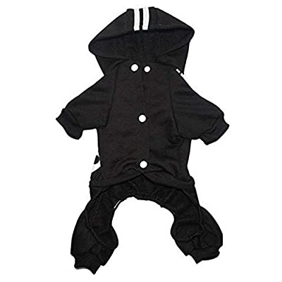 Tribones Pet Clothes Clothing Hoodie Coat Sweater Jacket Shirt Outfit Winter Costume 4-Legs Jumpsuit for Small or Medium Pet Dog Puppy Boy or Girl (M (Bust<40cm, Weight<3.0kg), Black)