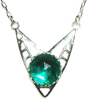 EMERALD GREEN CZECH GLASS NECKLACE Silver Plt ART DECO