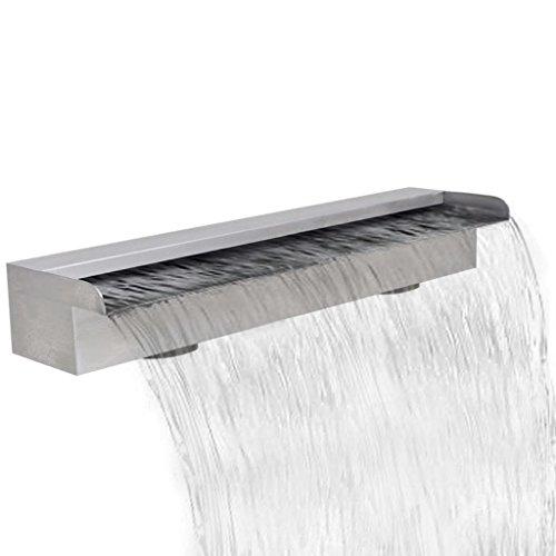 UnfadeMemory Rechteckige Wasserfall Pool-Fontäne Edelstahl Wasserfontäne 30/45/60/90/120/150 cm Teich Schwimmteich Wasserspiels (60 cm, Ohne LED)