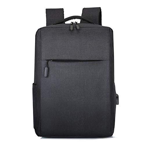 Shoulder Bag Casual Fashion Trend Backpack Computer USB Charging Simple Business Man Bag Student Bags Computer Backpack (Color : Black)