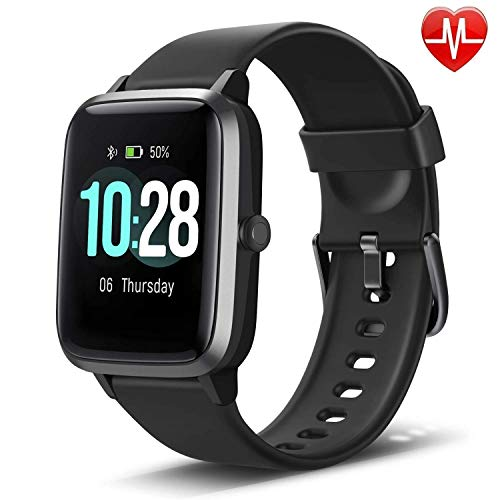 LETSCOM Fitness Tracker with Heart Rate Monitor, Smart Watch, Activity Tracker, Step Counter, Sleep Monitor, Calorie Counter, 1.3' Touch Screen, IP68 Waterproof Pedometer Watch for Kids Women Men